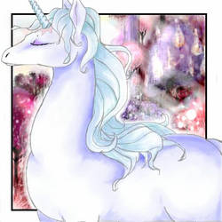 the last unicorn purple forest by omi-chan
