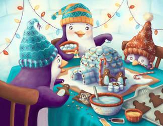 Penguin Family's Igloo Nativity by Isynia-Artessa