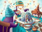 Penguin Family's Igloo Nativity