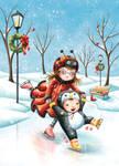 Ladybug and Penguin on Ice