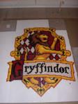Gryffindor house emblem in perler