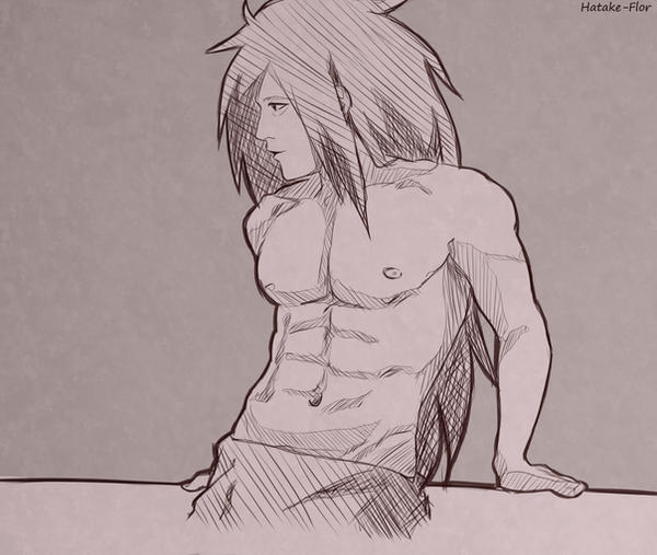[Sketch] Shirtless Madara by Hatake-Flor