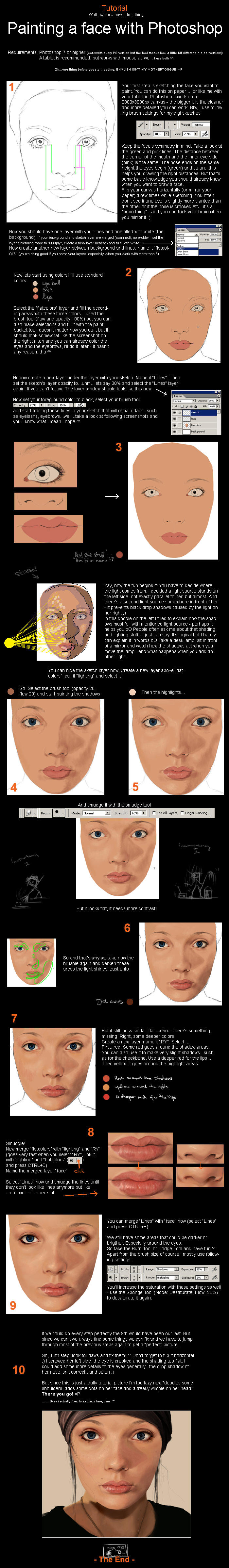 Photoshop - Painting a face by sirasan