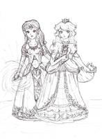 Zelda and Peach by Jago-Mizukami