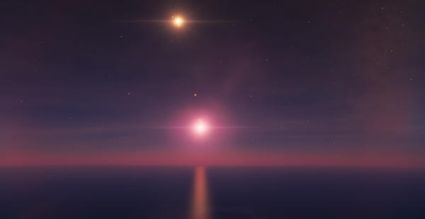 Binary Suns Glowing off an Oceanic Planet by bwortham10