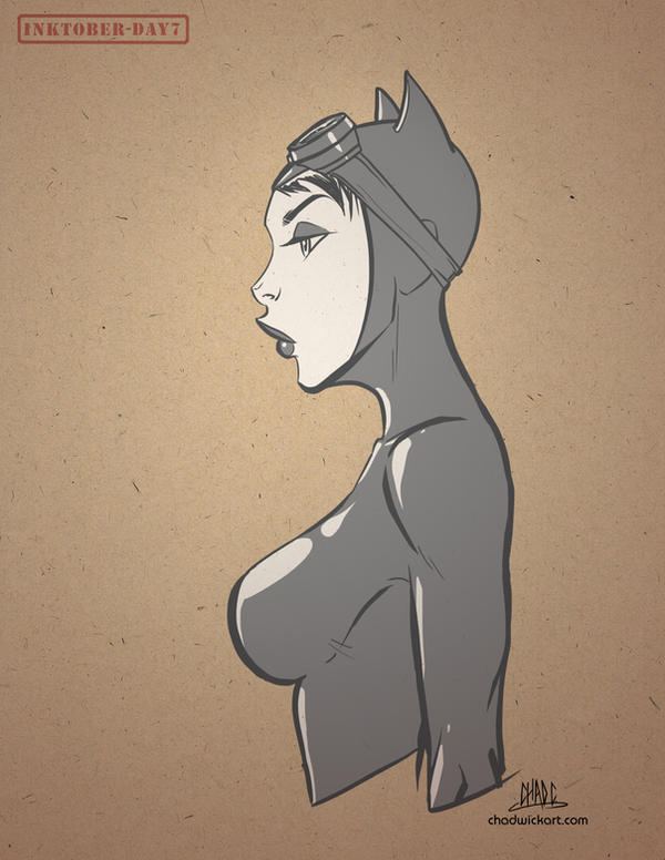 Inktober-#07-Catwoman by Chadwick-J-Coleman