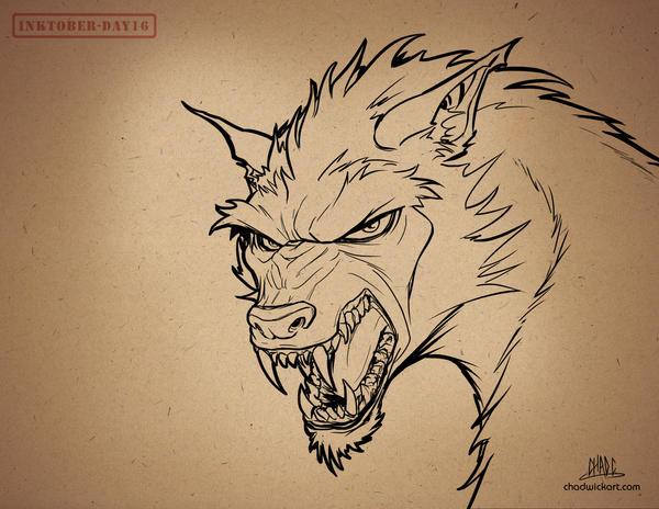 Inktober-#16-Werewolf by Chadwick-J-Coleman