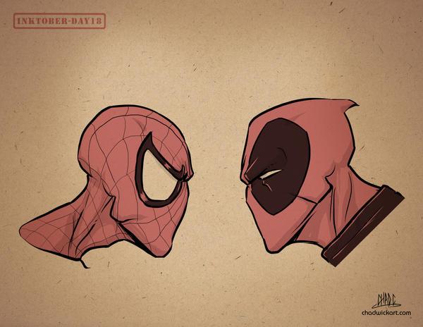 Inktober-#18-Spidey vs Deadpool by Chadwick-J-Coleman