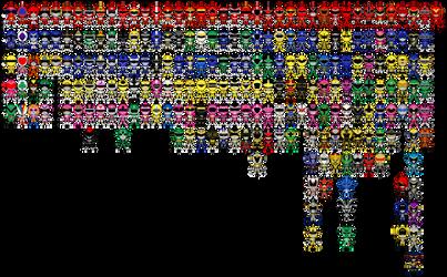 All Super Sentai a.k.a. Power Rangers Pixel Art
