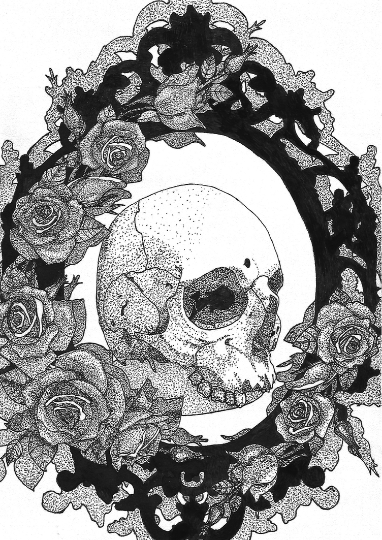 Tattoo 3 - Skull in frame with roses by Yami19 on DeviantArt