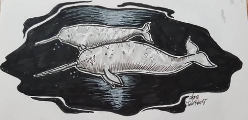 Inktober18-whale by Annamaisonauve