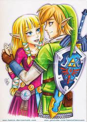 Copic Marker Link and Zelda, TLoZ Skyward Sword by LemiaCrescent