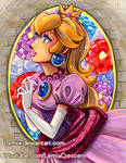 Princess Peach Stained Glass Castle Window
