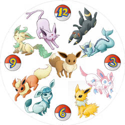 eeveelution clock face