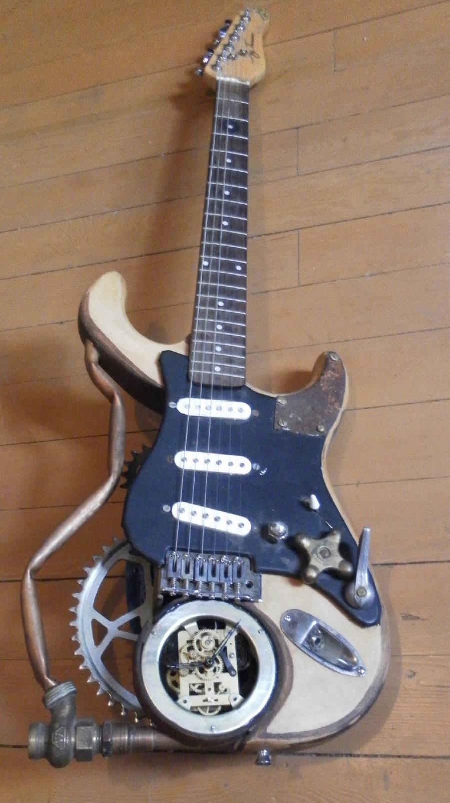 custom steampunk guitar by pooka pooka on deviantart. Black Bedroom Furniture Sets. Home Design Ideas