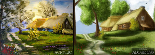 Landscape [Traditional vs Digital] by Saliov