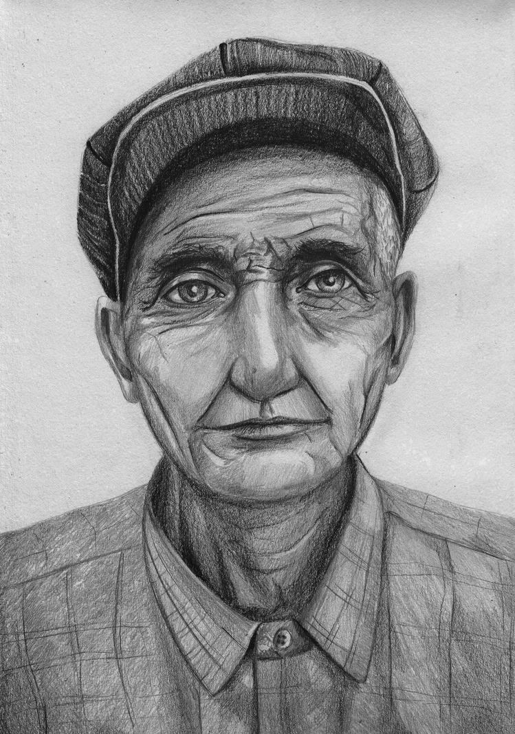 Old man sketch by Saliov