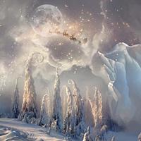 Christmas Night  Magic Scene With Flying Santa By  by kuschelirmel