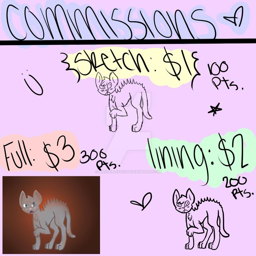 Commission List by Pastellistic