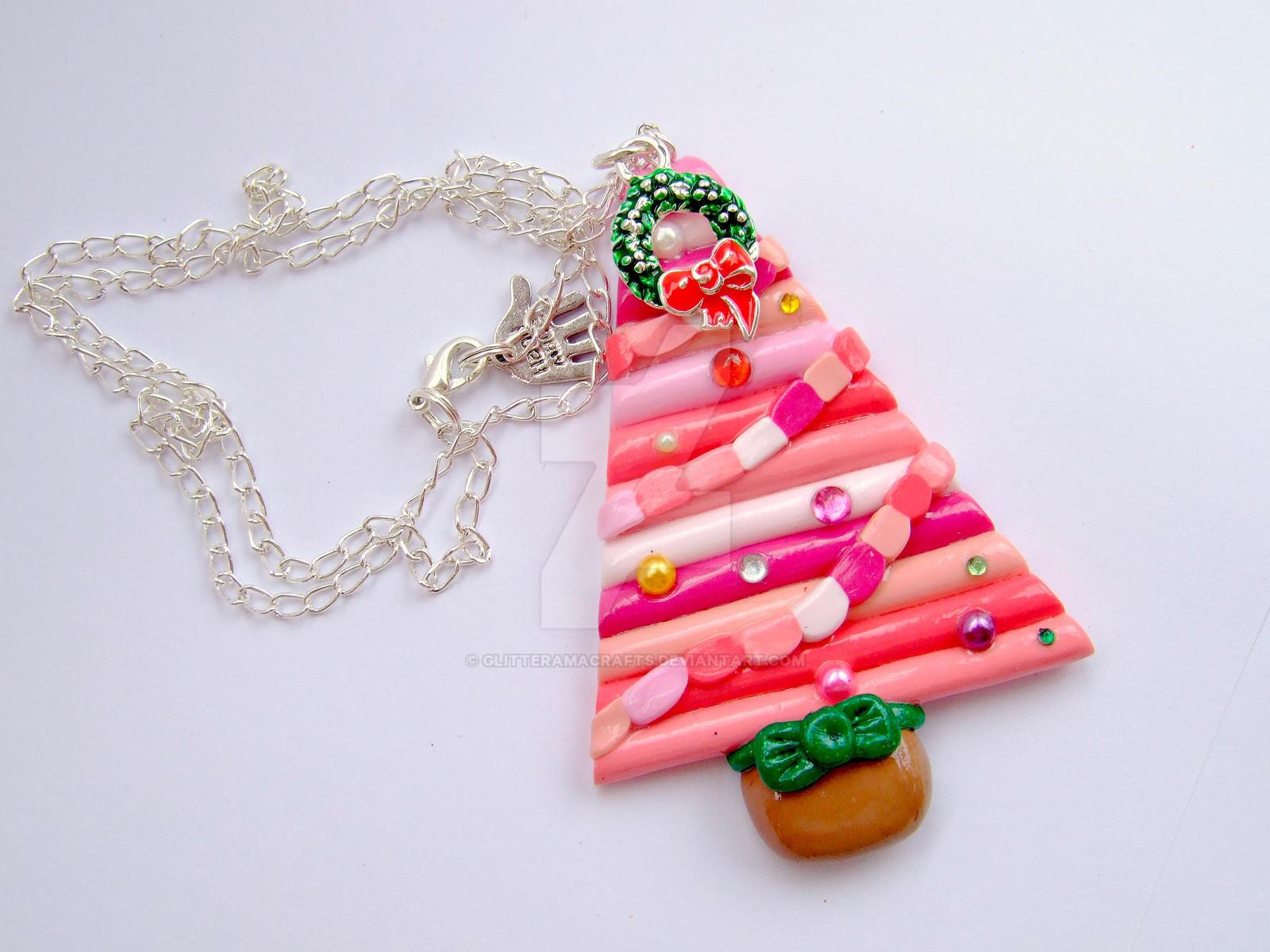 Handmade Polymer Clay Christmas Tree Necklace by GlitteramaCrafts ...