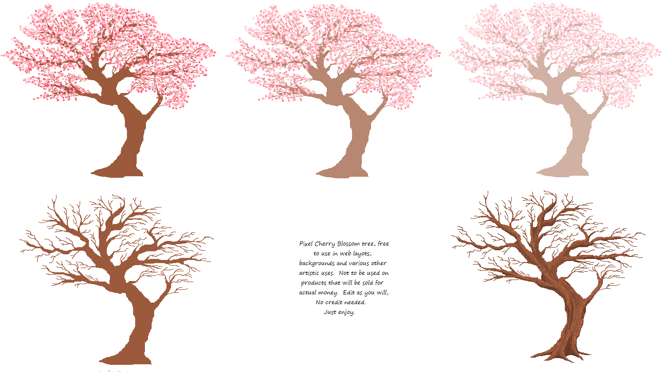 Blossom Tree Drawing: Cherry Blossom Pixel Trees By Cherieosaurus On DeviantArt