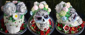 Sugar skull cake by Cherieosaurus