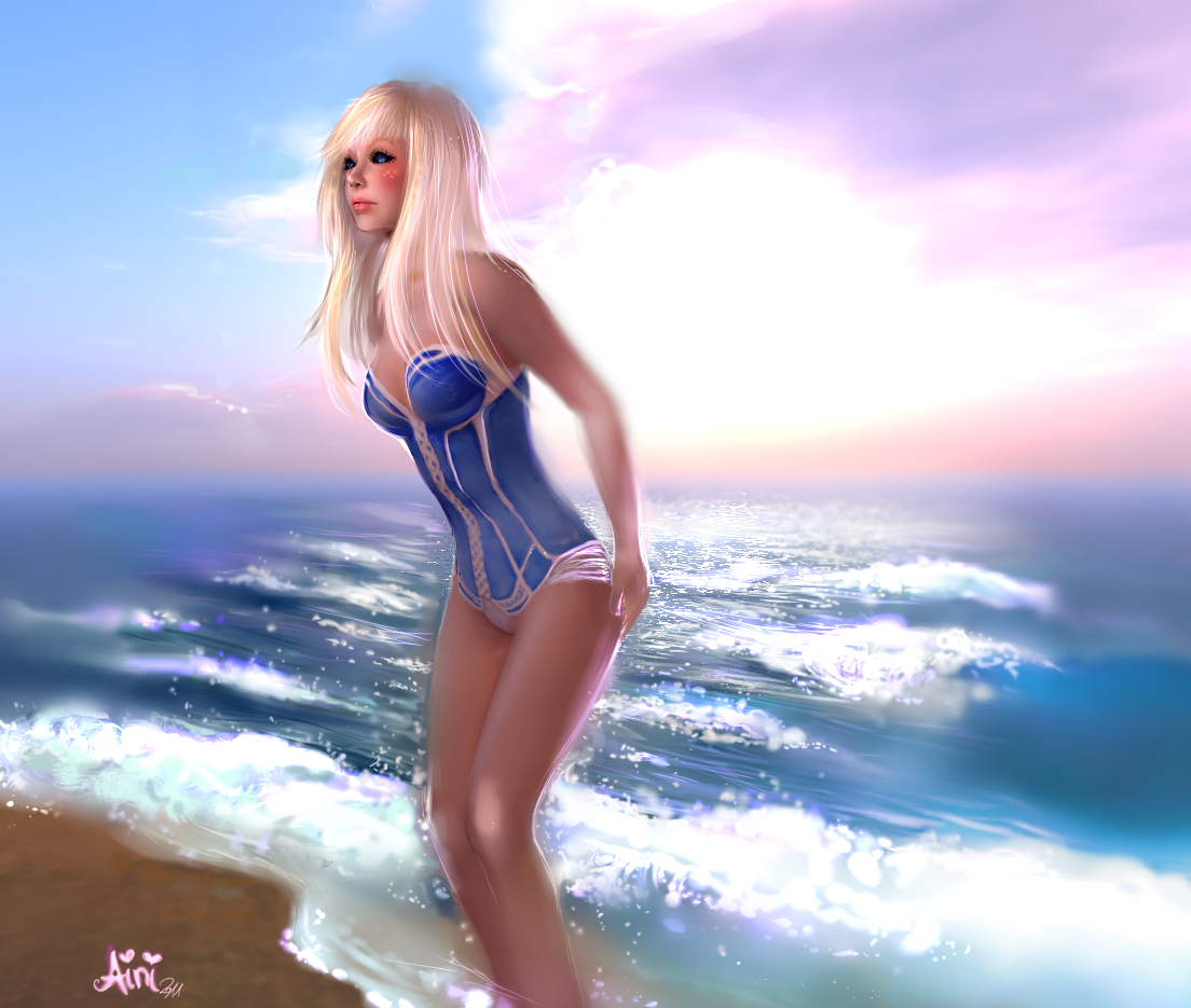 Aini on the Beach by Ainiwaffles