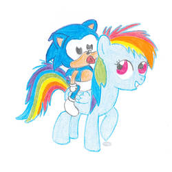 Baby Sonic and filly Rainbow Dash by Minux86