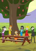 Viki, Freddi, Aggy, Dani, Jose, and Sera by apples by Darcydarkwoods