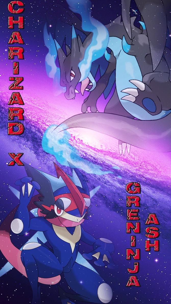 Charizard X And Greninja Ash Iphone Wallpaper By Bloody Sama