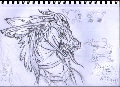 doodle dragon and bunnyes