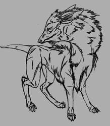 warg like creature -lineart-