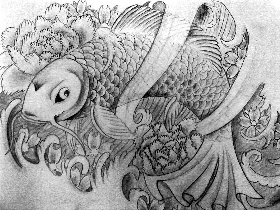 Black and grey koi fish by katiematie on deviantart for Black and white koi fish