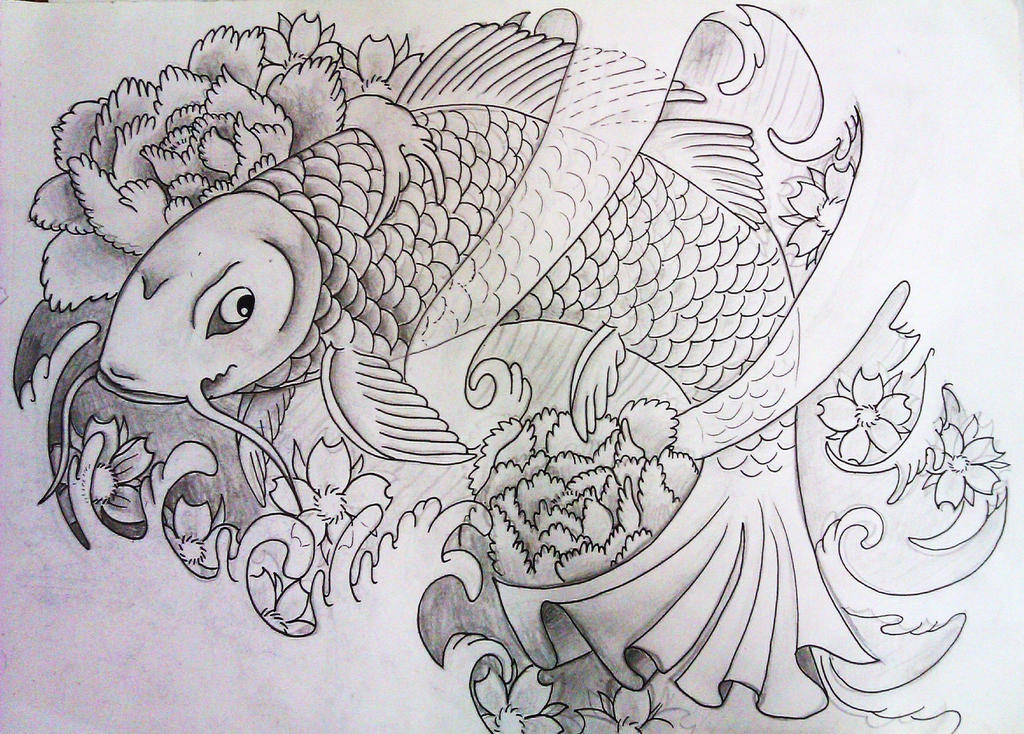 Detailed black and white koi fish drawings for Black koi fish