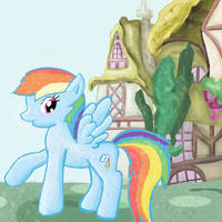 Rainbow Dash in Ponyville by AlliCali
