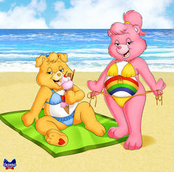 Care Bears on the beach by Onzeno