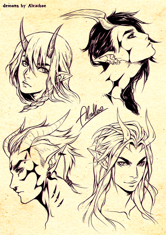 demons sketches by Alcathoe