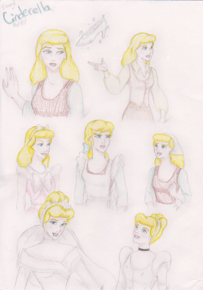 Disney Sketch-Color Cinderella by HumanStick