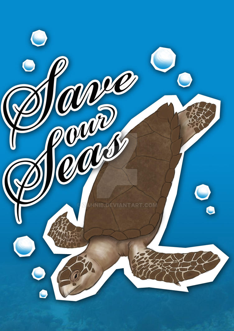Save Our Seas - Turtle Poster by zahnib