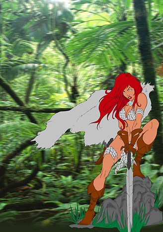 Red Sonja  Lineart  By Diabolumberto by melsr007