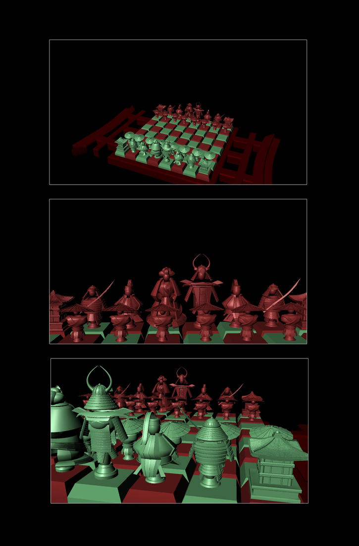 Chess Set Rendered Images by ninjas-giveyouwings