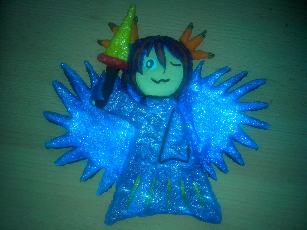 Angel with sword, painted salt dough by Nejti
