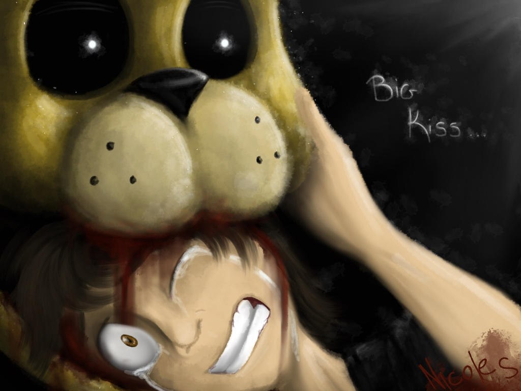 Big kiss/bite of 87 - five Nights at Freddy's 4 by NicoleTheBluePony