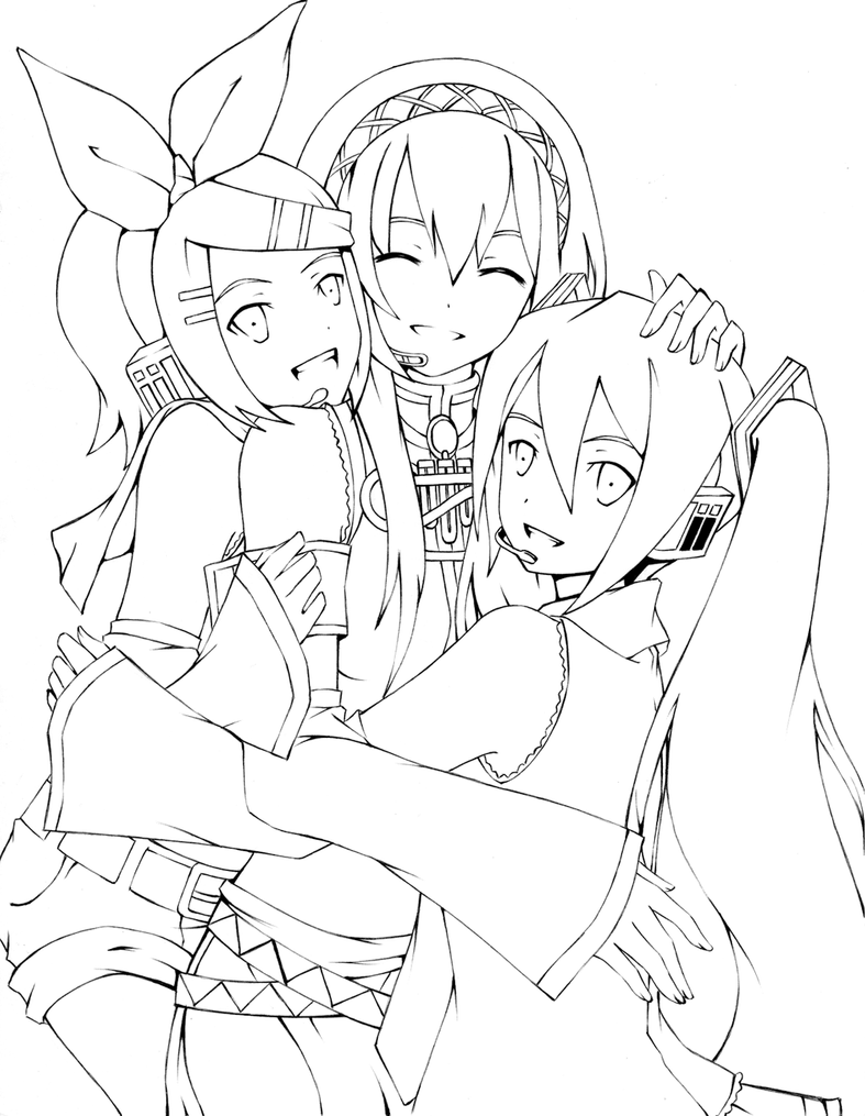 vocaloid coloring pages - lineart vocaloid by shonen alice on deviantart