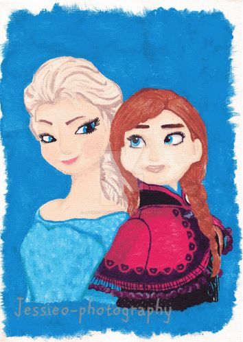 Disney Frozen Elsa  Anna Canvas Painting by jessieo-photography