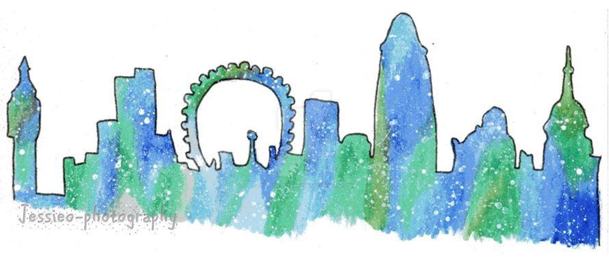 Watercolour London Skyline Silhoutte by jessieo-photography