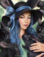 Black bunnies and ribbon by OmriKoresh