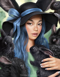 Black bunnies and ribbon