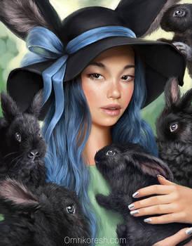Black bunnies and ribbon