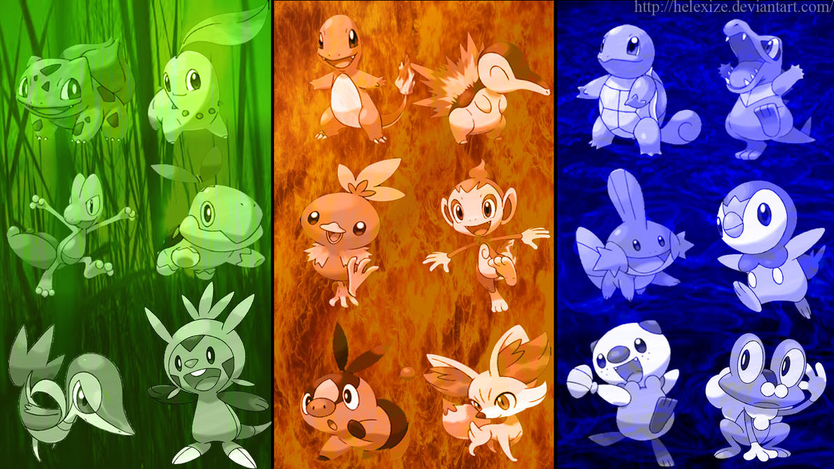 pokemon all starters wallpaper
